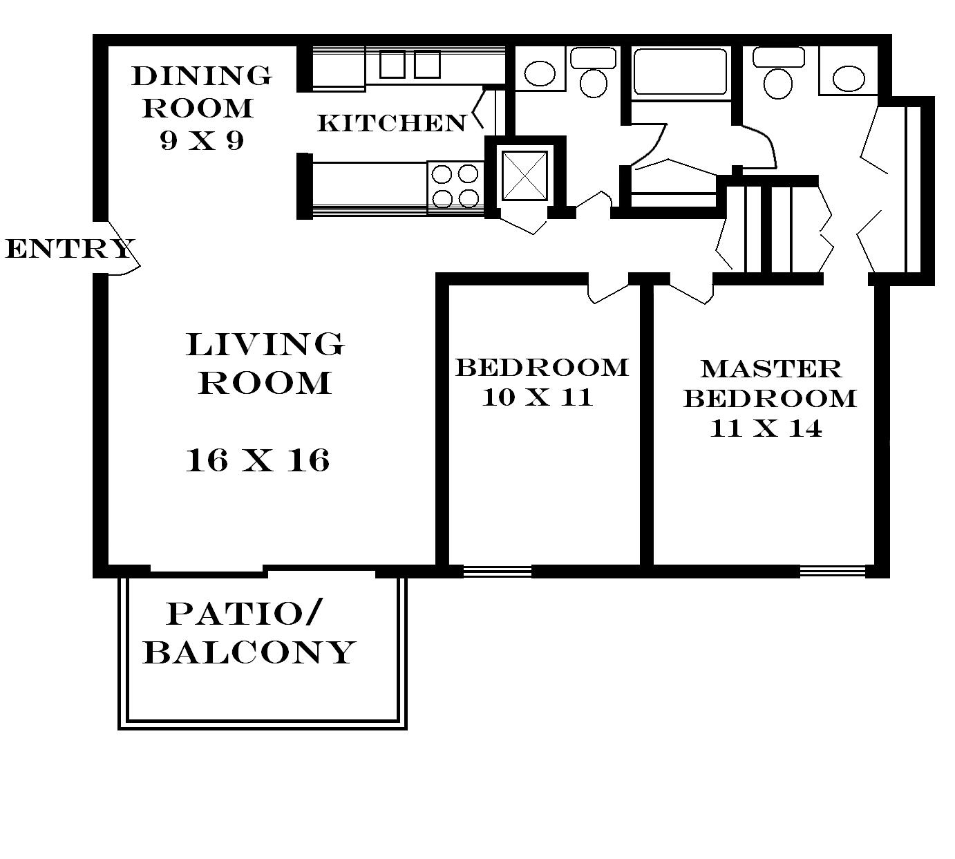 What is 1000 square feet room size - 2 Bedroom 1 5 Bath 770 00 Month 1000 Square Feet