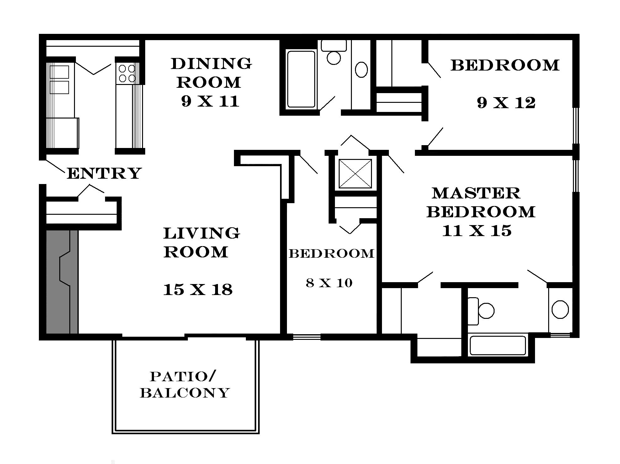 Lawrence apartments meadowbrook 2601 dover square - Architectural plan of two bedroom flat with dining room ...