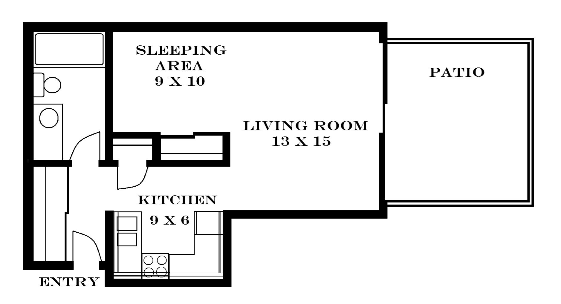 Studio Floor Plans lawrence apartments | meadowbrook — 2601 dover square
