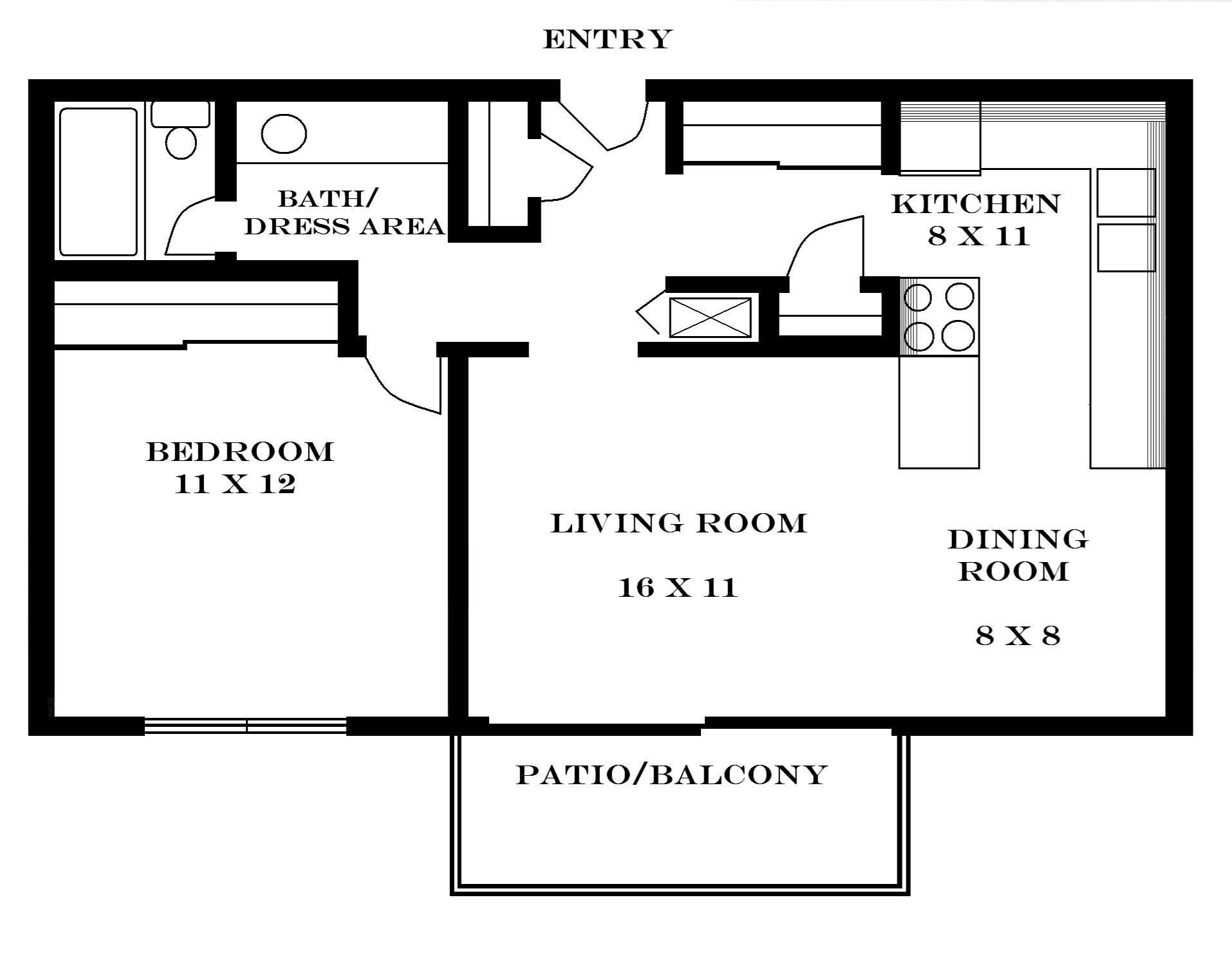 Lawrence apartments meadowbrook 2601 dover square for Small 1 bedroom apartment floor plans