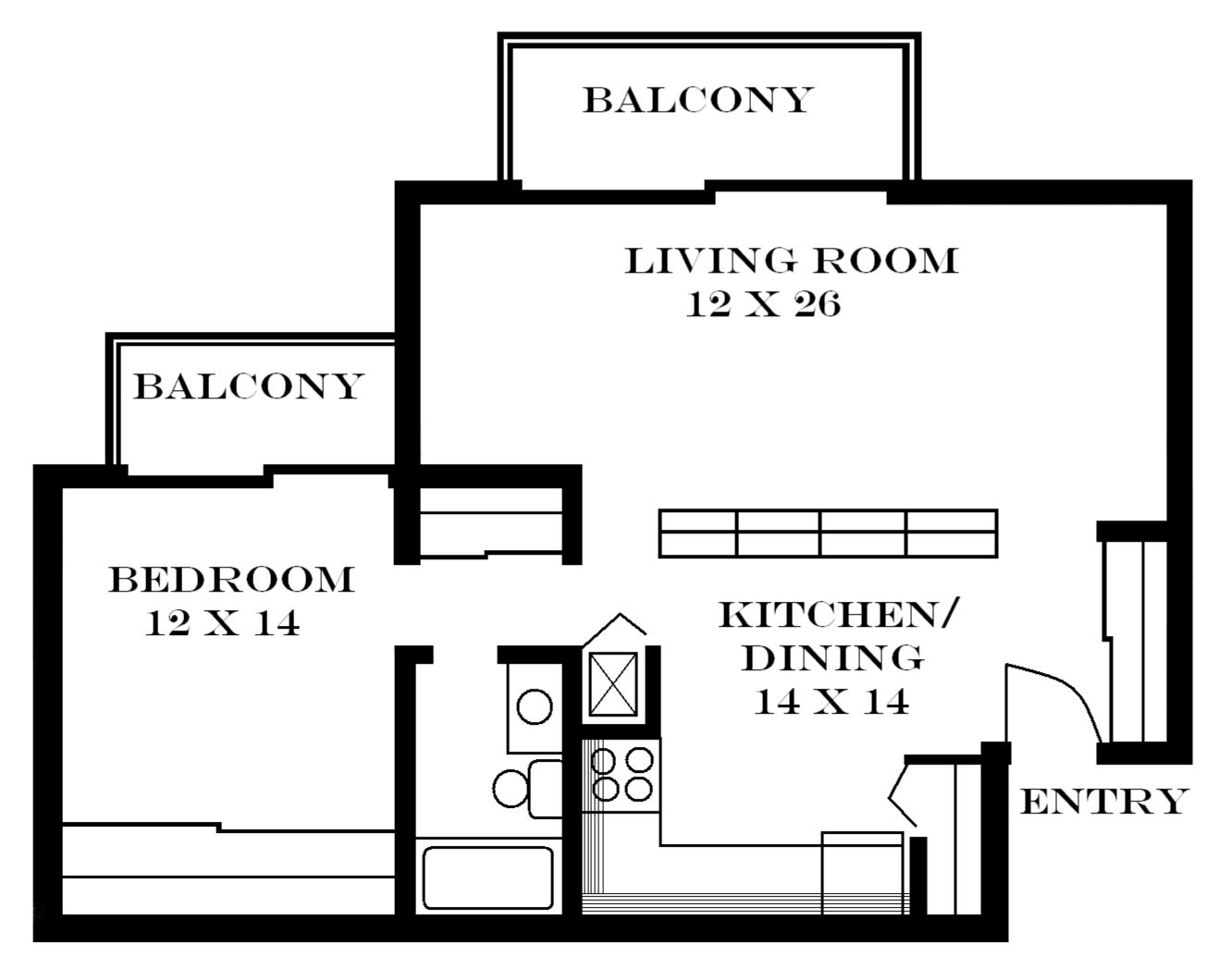 Lawrence apartments meadowbrook 2601 dover square for 1 bedroom apartment plans