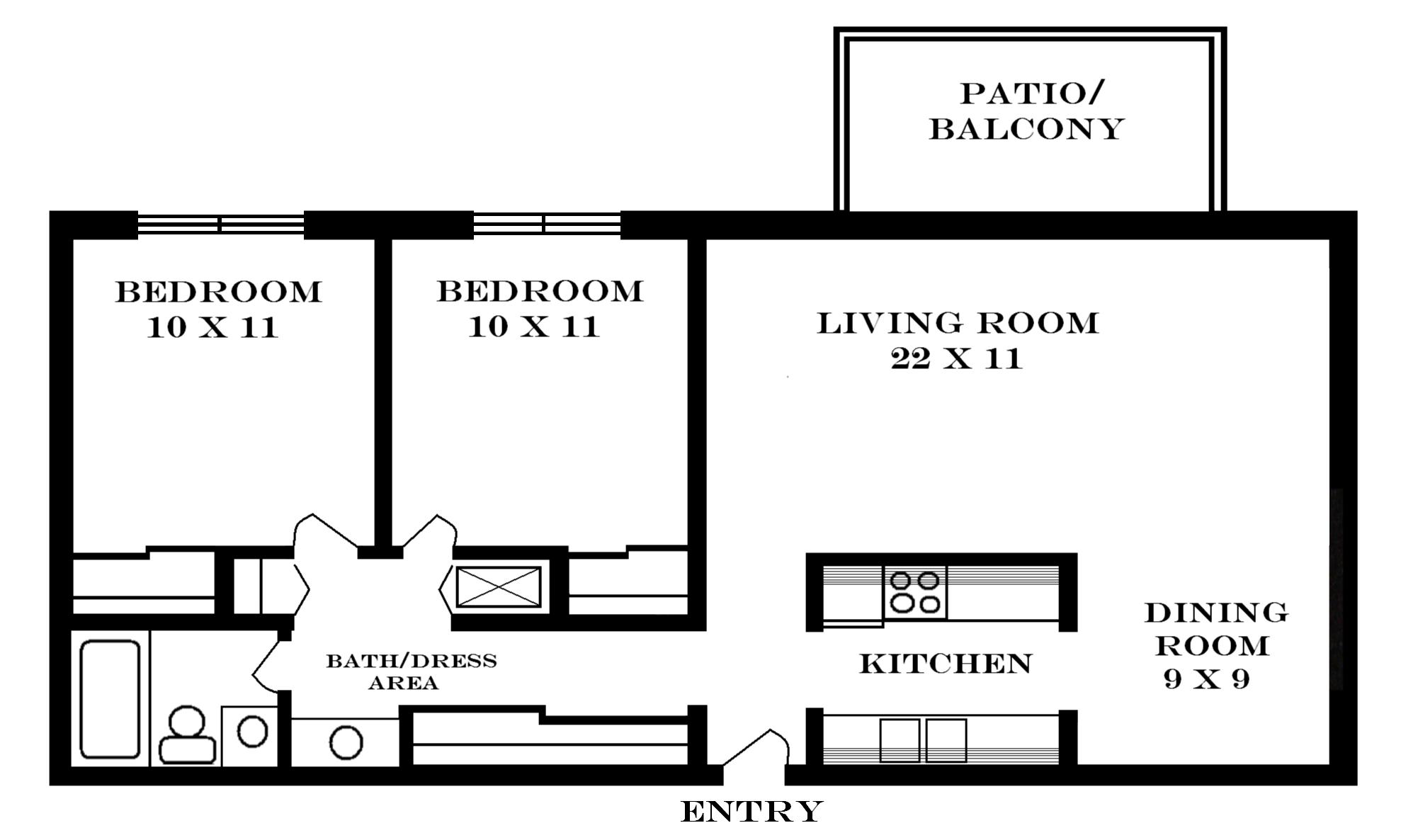 Lawrence apartments meadowbrook 2601 dover square for 2 bedroom 1 bath house floor plans