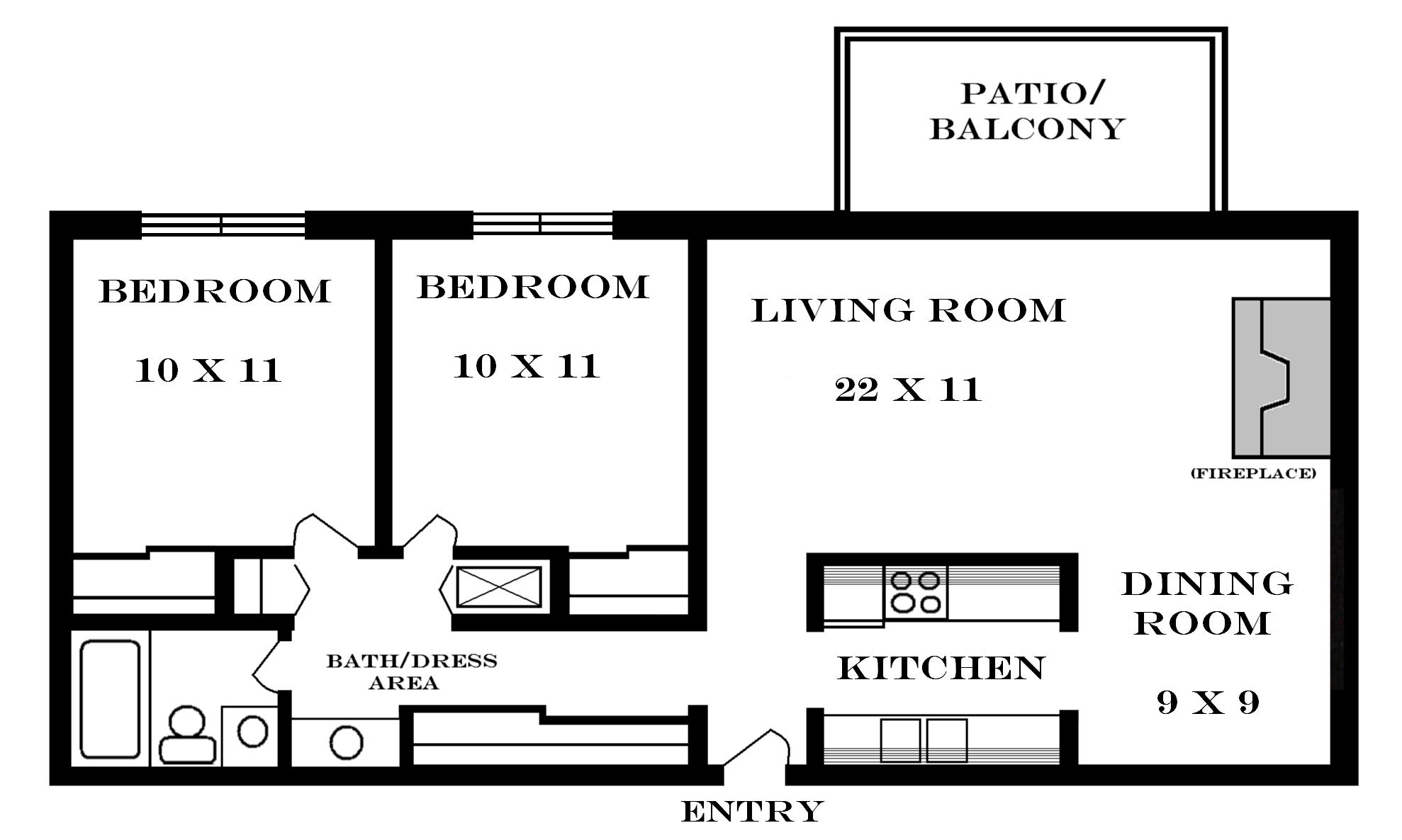 Lawrence apartments meadowbrook 2601 dover square for 2 bedroom apartment layout ideas